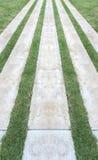 Perspektivsikt av trottoaren för marmorstenmodell, trottoar med linjen av grästexturbakgrund Fotografering för Bildbyråer
