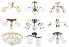 perspektivsikt för 3 samling isolerad lampor Arkivbilder