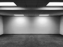 Perspektivsikten av klassiskt kontorsrum för tomt utrymme med radtaket LEDDE ljusa lampor och tänder skugga på väggen för galleri Royaltyfri Bild