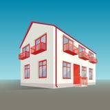 Perspektivtvå-våning byggnad Vektor Illustrationer