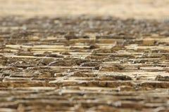 Perspektywa ceglana beż ściana między cegłami, z czego akty cementują moździerz obraz stock