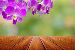 Perspektywicznego drewna stołowy i tajlandzki storczykowy kwiat nad natura abstrakta tłem Fotografia Stock