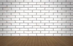 Perspektywiczny drewno nad białym ściana z cegieł tłem, pokój, stół, Fotografia Stock