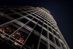 Perspektywiczny noc widok Burj Khalifa, thehighest budynek w świacie budował w Dubaj zdjęcia stock