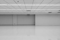 Perspektywiczny widok Opróżniałam przestrzeni Klasyczny Monotone Czarny Biały Biurowy pokój z rzędu sufitem PROWADZIŁ Lekkiego la fotografia stock