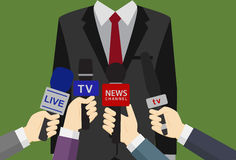 Perss Converence of Businessman, Businessman Giving an Interview, Many Hands of Journalists with Microphones. Many hands of Journalist with Microphone take an Royalty Free Stock Image