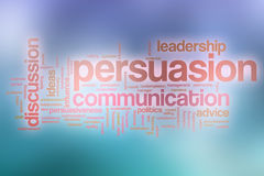 Persuasion word cloud with abstract background Stock Photos