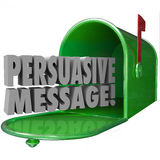 Persuasive Message Mailbox Convincing Influential Decisive. Persuasive Message words in a green metal mailbox to illustrate advertising or promotion that is Royalty Free Stock Images