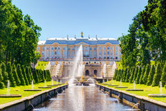 Peterhof Palace and Sea Channel in Saint Petersburg Royalty Free Stock Photo
