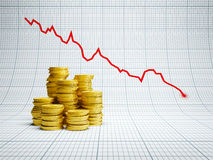 Pertes au marché financier Images stock