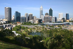 Perth. High angle view over the famous city buildings in Perth. Western Australia Stock Photography