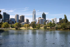 Perth, Australia. View from John Oldany park. Australian skyscrapers water reflection royalty free stock images