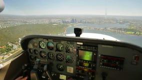 Perth Australia aerial POV. Aerial view POV on Perth City in WA Australia. Scenic flight over Narrows Bridge, Swan River, Kings Park, Mill Point, Perth center stock footage