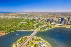 Perth Australia aerial. Aerial view of Perth City in Australia. Scenic flight over Narrows Bridge, Swan River, Kings Park, Mill Point, Perth Convention and royalty free stock photos