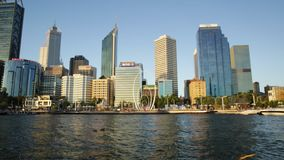 Perth skyline at sunset stock video footage