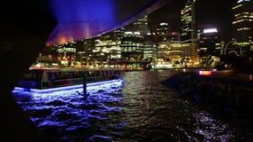 Elizabeth Quay Bridge night. Perth, Australia - Jan 5, 2018: Elizabeth Quay Bridge and ferry boat on Swan River at night in Elizabeth Quay marina. Arched stock footage