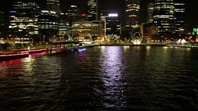 Elizabeth Quay panorama. Perth, Australia - Jan 5, 2018: panorama fom iconic Elizabeth Quay pedestrian bridge illuminated by night at Elizabeth Quay Marina in stock video footage