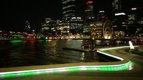 Elizabeth Quay night. Perth, Australia - Jan 5, 2018: Walkway with night lighting at popular tourist attraction Elizabeth Quay Marina on Swan River illuminated stock video footage