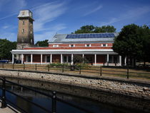 Perth-Bibliothek und alter Feuer-Kontrollturm Lizenzfreies Stockbild