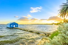 Perth Boat House. Blue Boat House: the iconic and most photographed Perth landmark in Western Australia. Scenic sunset landscape on the Swan River. Boathause Stock Image