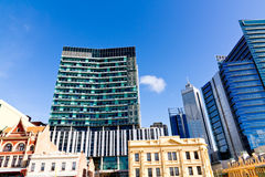 Perth city Australia. Perth Business District of old and new buildings, Western Australia Stock Photos