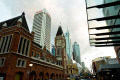Perth Business District. Perth skyline of old and new buildings, Western Australia Stock Image