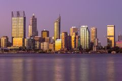 Skyline of perth at night in western australia. Perth is the capital and largest city of the Australian state of Western Australia. It is the fourth-most royalty free stock photos