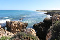 Rocky shoreline in the north of Perth coast, Western Australia. Perth is the capital and largest city of the Australian state of Western Australia. It is the Stock Image