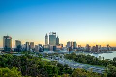 Skyline of perth at night in western australia. Perth is the capital and largest city of the Australian state of Western Australia. It is the fourth-most stock photography