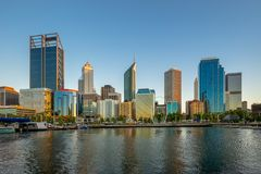 Skyline of perth at night in western australia. Perth is the capital and largest city of the Australian state of Western Australia. It is the fourth-most royalty free stock image