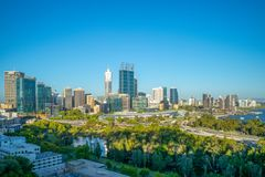 Skyline of perth at night in western australia. Perth is the capital and largest city of the Australian state of Western Australia. It is the fourth-most stock photos