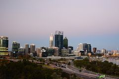 Perth skyline from Kings Park lookout. Western Australia. Australia. Perth is the capital and largest city of the Australian state of Western Australia royalty free stock image