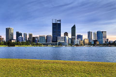 PERTH CBD river Grass blue Stock Photo