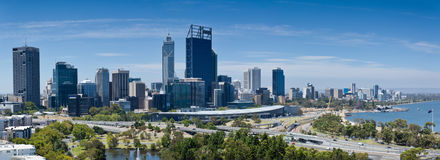 Perth in Western Australia. Perth CBD and Swann River panorama Royalty Free Stock Images