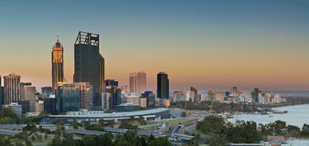 Perth at sunset. Perth central business district at dusk with the Swann River in the foreground Stock Photo