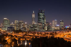 Perth at sunset. Perth central business district at night Royalty Free Stock Photos