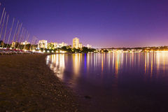 Perth city beach and boats at night Royalty Free Stock Photo