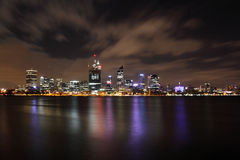 Perth City at Night. From Mounts Bay road, reflections and moving clouds Stock Photography