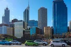 Perth City Scape. With Elizabeth Quay Construction Site(formerly Perth Waterfront) in the front Stock Images