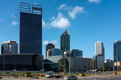 Perth City Scape. With Esplanade bus port & Convention Center in the front Royalty Free Stock Photo