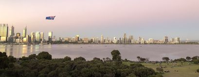 Perth City Skyline with Australian Flag royalty free stock photography