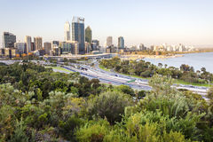 Perth city skyline and main road. Cityscape in Perth, western Australia. Photo shot from Kings Park Royalty Free Stock Images