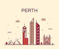 Perth city skyline Western Australia vector linear royalty free illustration
