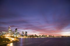 Perth City View. An early morning long exposure of Perth across the Swan River. The capital city of Western Australia Royalty Free Stock Images