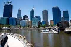 Perth City view from Elizabeth Quay Bridge with The Spanda sculp Royalty Free Stock Image