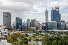 Perth city view from Kings park in cloudy weather Stock Photos