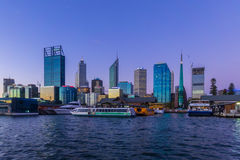 Perth City. View from Swan River during twilight Royalty Free Stock Photo
