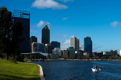 Perth Cityscape & Swan River. Perth City Scape with a boat on the Swan River Stock Photo