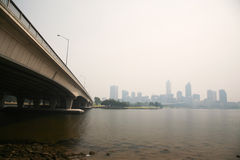 Perth covered in haze on 15 Dec 2009 Stock Photography