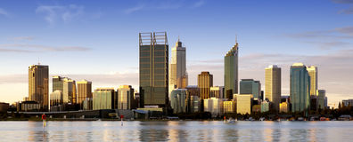 Perth at Dusk. Perth, Western Australia, at dusk, with Swan River in foreground Stock Photo
